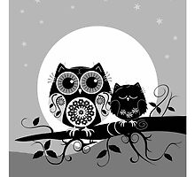 Flower power Owl with sleepy Baby & full Moon by walstraasart