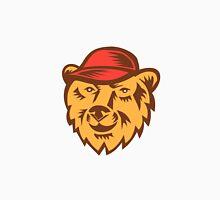 Bear Head Wearing Hat Woodcut Unisex T-Shirt