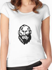 Male Big Beard Woodcut Women's Fitted Scoop T-Shirt