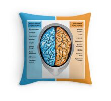 Human brain left and right functions Throw Pillow