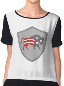 North American Bison USA Flag Shield Retro Chiffon Top