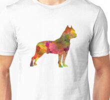 American Staffordshire Terrier in watercolor Unisex T-Shirt