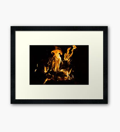 Hot Sparks - Comfort and Warmth by the Fireplace Framed Print
