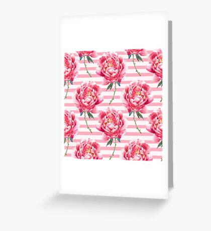 Pattern of  watercolor peony Greeting Card