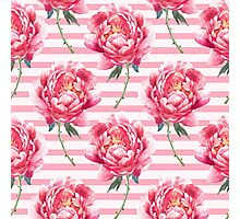 Pattern of  watercolor peony Photographic Print