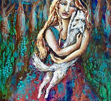 Wolf pup and girl by Cheryle  Bannon