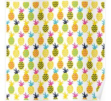 Pineapples colorful seamless pattern. Poster