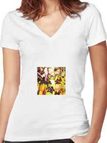 yellow tropics Women's Fitted V-Neck T-Shirt