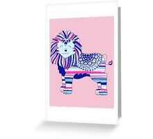 Pink, blue and purple lion Greeting Card
