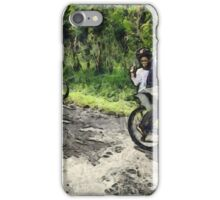 Enjoying cycling on a rough track iPhone Case/Skin