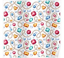 Golden chains and colorful gemstones pattern. Poster