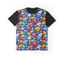 Colorful gemstones background on dark. Graphic T-Shirt