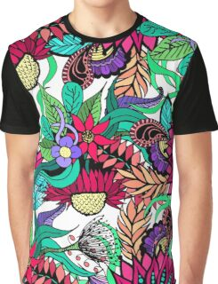 Girly Vibrant Flower Garden Illustrated Drawings Graphic T-Shirt
