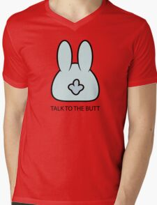Talk To The Butt Cool Funny Bunny Cartoon  Mens V-Neck T-Shirt