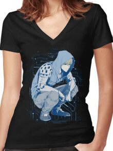 Genos one punch man Women's Fitted V-Neck T-Shirt