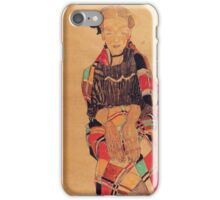 Egon Schiele - Girl In Black Pinafore Wrapped In Plaid Blanket 1910 iPhone Case/Skin
