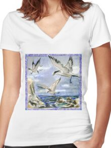 Seagulls on a Windy Day Women's Fitted V-Neck T-Shirt