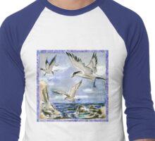 Seagulls on a Windy Day Men's Baseball ¾ T-Shirt
