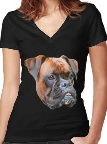 Germany boxer dog  Women's Fitted V-Neck T-Shirt