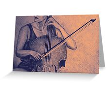 Cello player drawing. Greeting Card