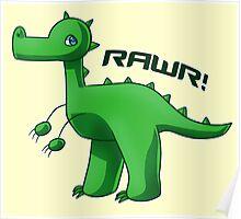Green T-Rex Poster