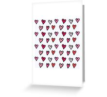 Cute Girly Pink Hand Drawn Hearts on White Pattern Greeting Card