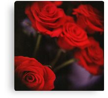Analog photo of bunch bouquet of red roses Canvas Print