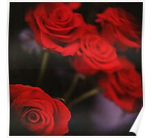 Analog photo of bunch bouquet of red roses Poster