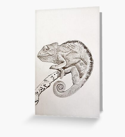 Chameleon in ink Greeting Card