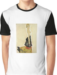 Egon Schiele - Kneeling Semi Nude 1911 Graphic T-Shirt