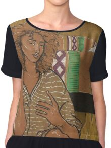 Golden Girl - On Brown Paper Chiffon Top