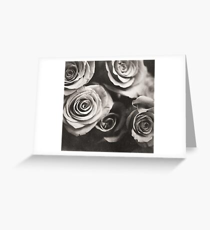 Medium format analog black and white photo of white rose flowers Greeting Card