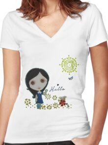 Hello My Sweet Bunny Friends Women's Fitted V-Neck T-Shirt