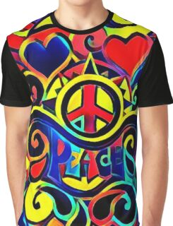 Peace and Love Bold Retro Art Graphic T-Shirt
