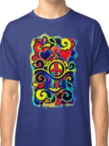 Peace and Love Bold Retro Art Classic T-Shirt