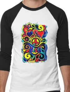 Peace and Love Bold Retro Art Men's Baseball ¾ T-Shirt