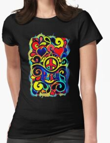 Peace and Love Bold Retro Art Womens Fitted T-Shirt