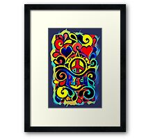 Peace and Love Bold Retro Art Framed Print