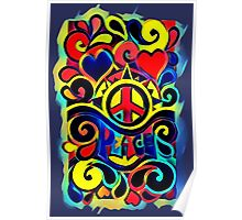 Peace and Love Bold Retro Art Poster