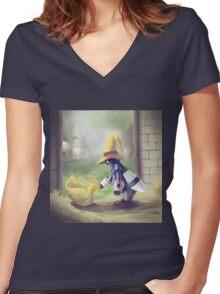Chocobo & Vivi Women's Fitted V-Neck T-Shirt