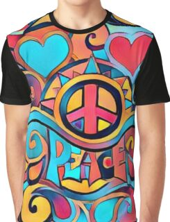Peace and Love Colorful Retro Art Graphic T-Shirt