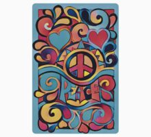 Peace and Love Colorful Retro Art One Piece - Short Sleeve