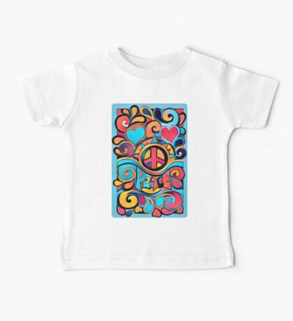 Peace and Love Colorful Retro Art Baby Tee