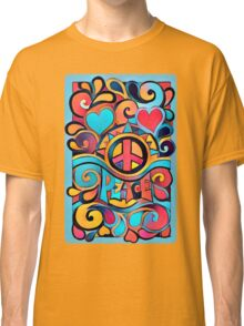 Peace and Love Colorful Retro Art Classic T-Shirt