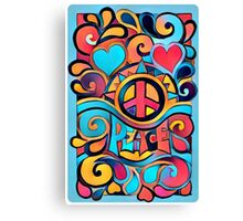 Peace and Love Colorful Retro Art Canvas Print
