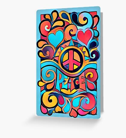 Peace and Love Colorful Retro Art Greeting Card