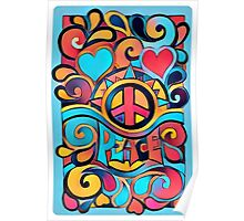 Peace and Love Colorful Retro Art Poster