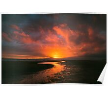 Sunset At Harlech Beach Poster