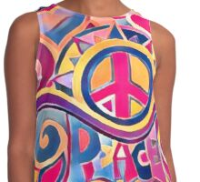 Peace and Love Hippie Retro Art Contrast Tank