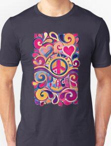 Peace and Love Hippie Retro Art Unisex T-Shirt